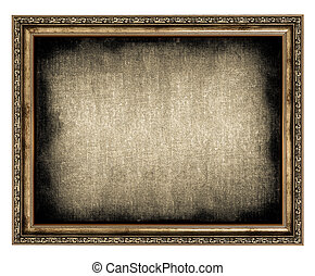 frame with empty canvas isolated on white