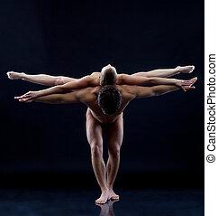 imagen, dos, desnudo, acróbatas, actuación,...