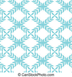 Blue argyle leaves seamless pattern background - Vector blue...