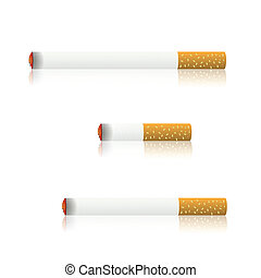 burning cigarettes - colorful illustration with burning...
