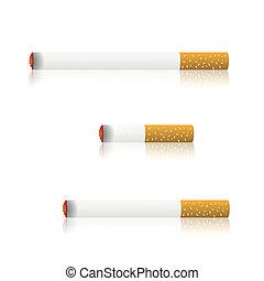 burning cigarettes - colorful illustration with burning...