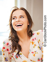 picture of smiling woman at home