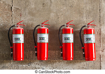 Fire extinguisher - Old fire extinguishers attached on the...