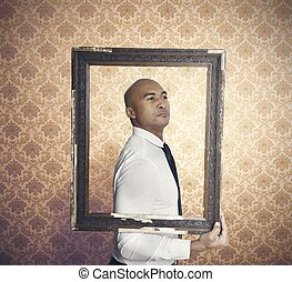 Pride - Businessman proud of himself inside a frame