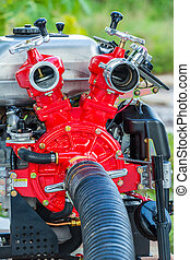 Fire fighting pump - Close up red color Fire fighting pump...