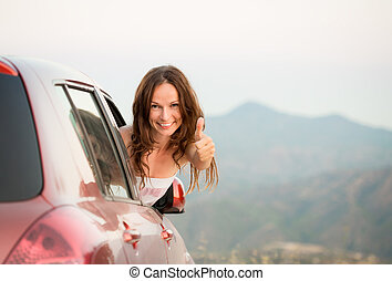 Happy driver woman on summer vacation - Happy driver woman...