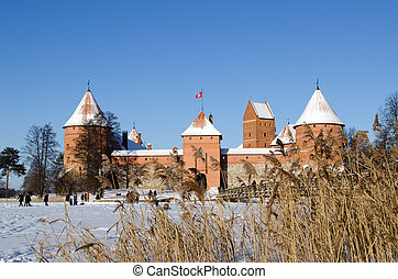People recreate Trakai fort snow frozen lake reeds - People...