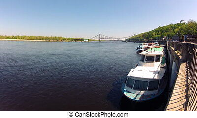 Dnipro river in Kyiv, Ukraine