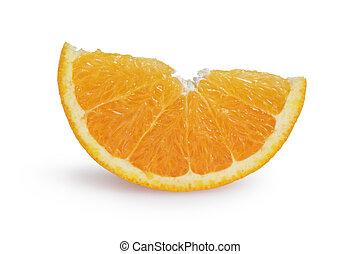 ripe orange lobule, isolated on white background