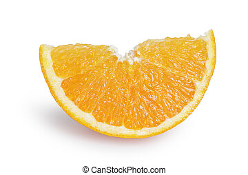 ripe orange lobule, isolated on white background