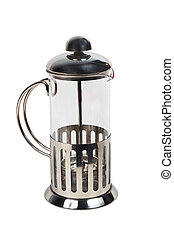 teapot kettle crockery glass tea shiny metal isolated...