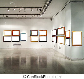 Gallery interior with empty frames