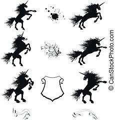 heraldic unicorn coat of arms set1 - heraldic unicorn coat...