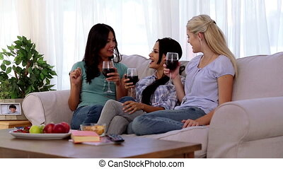 Laughing friends having fun while drinking red wine on the...