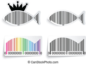 Barcode fish label set - Vector Illustration Of Barcode fish...