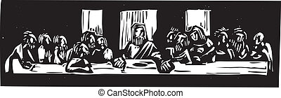 Last Supper Woodcut - Woodcut style image of Jesus at the...