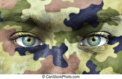 Human face with camouflage makeup