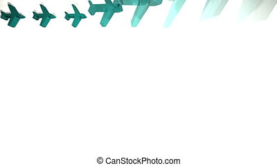 Blue airplanes appearing in a grid animation on white...
