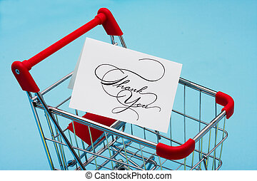 Shopping Cart with a thank you card
