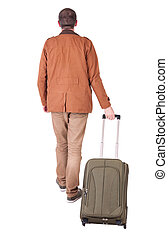 back view of walking  man  with suitcase