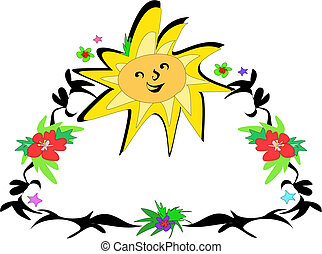 Frame of Sun and Flowers Vector