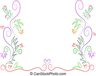 Swirls of Plants and Hearts Vector