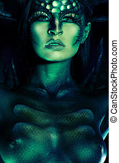 green painting - Beautiful and scary devil woman. Art...