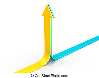Two arrows pointing upwards - Two 3d arrows are pointing...