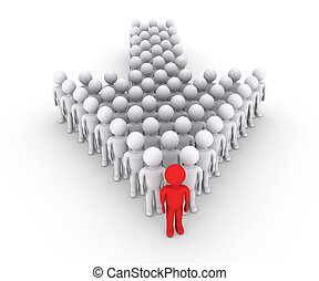People with leader in front form an arrow - Many 3d people...