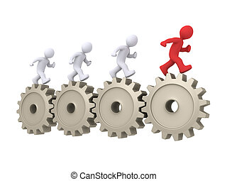 The leader is running in front of others - 3d people running...