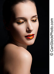 Close-up portrait of sexy european young woman model with glamour make-up