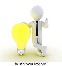 Businessman leaning on light bulb