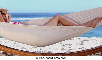 Attractive woman in a hammock - Attractive woman in bikini...