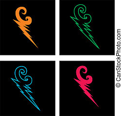 mix color thunderbolt vector art