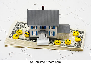 Understanding Mortgages - House sitting on stack of money...