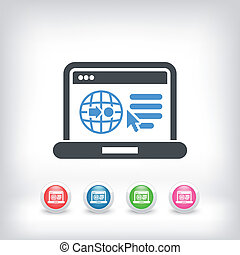 Internet map icon - Illustration of computer connected in...