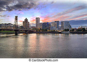 Portland Oregon Skyline at Sunset - Portland Oregon Downtown...