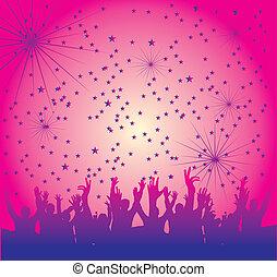 disco people hand up vector art