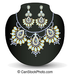 of a necklace and earrings with pearls
