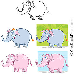 Elephants Characters. Collection - Elephants Cartoon Mascot...