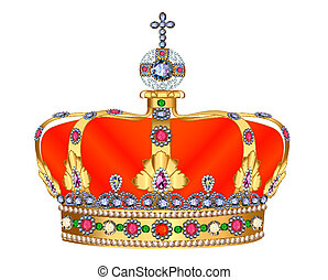 of royal gold crown with jewels and ornament - illustration...