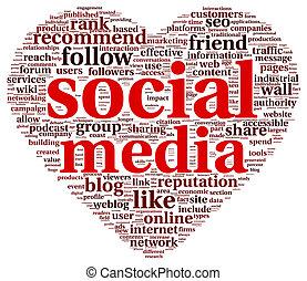 Social media love conept in word tag cloud - Social media...