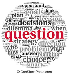 Question concept in tag cloud - Question and decision making...