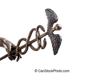 Hermes caduceus closeup isolated on white with clipping path