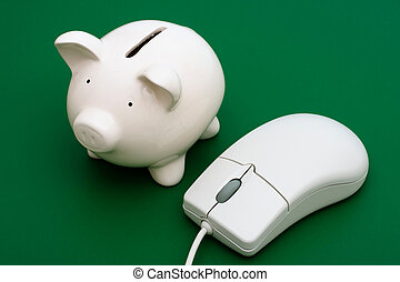 Online Banking - Piggy bank with computer mouse on a green...