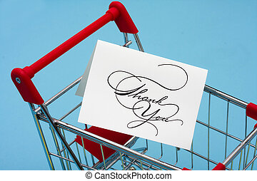 Shopping Cart with thank you card thank you for shopping