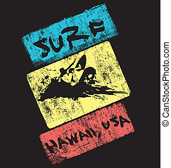 surf hawaii usa - illustration for shirt printed and poster