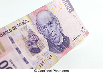 Money - Angle view of a Mexican thousand pesos bill