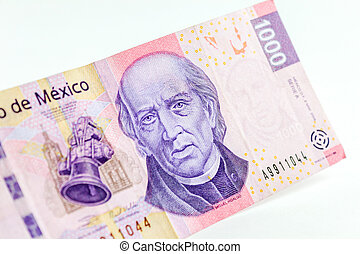 Cash - Front view of a mexican 1000 pesos bill