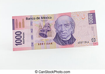 Money - Front view of a mexican 1000 pesos bill